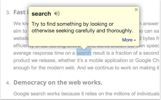 google dictionary extension