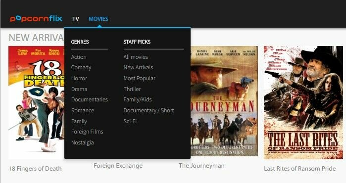Popcornflix categories Type