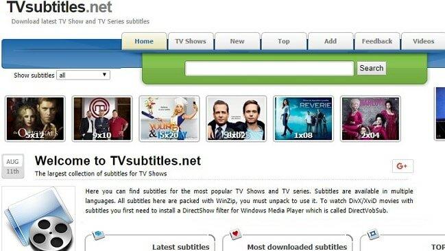 tvsubtitles homepage