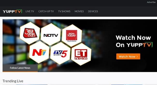 live tv on Yupptv